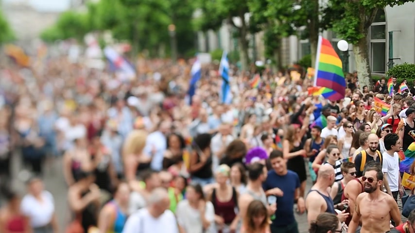 minority group : STRASBOURG, FRANCE - JUN 10, 2017: Cinematic tilt-shift lens used at LGBT gay pride parade with thousands of people dancing on the street - elevated view crowd waving rainbow flag