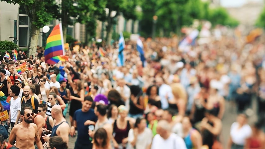 гей : STRASBOURG, FRANCE - JUN 10, 2017: Cinematic tilt-shift lens used at LGBT gay pride parade with thousands of people dancing on the street - elevated view crowd waving rainbow flag