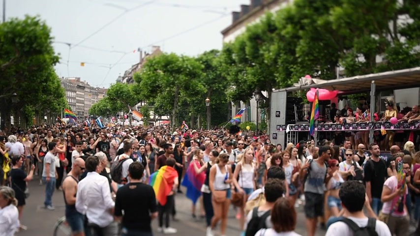 haklar : STRASBOURG, FRANCE - JUN 10, 2017: Crowd near Gay truck in city center at gay LGBT pride - tilt-shift lens with thousands of people dancing on the street - elevated view