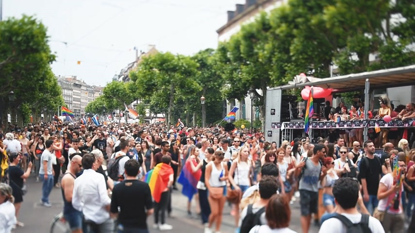 minority group : STRASBOURG, FRANCE - JUN 10, 2017: Crowd near Gay truck in city center at gay LGBT pride - tilt-shift lens with thousands of people dancing on the street - elevated view