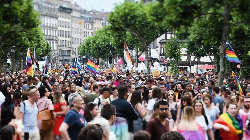 minority group : STRASBOURG, FRANCE - JUN 10, 2017: Cinematic focusing with tilt-shift lens used at LGBT gay pride parade with thousands of people dancing on the street - elevated view
