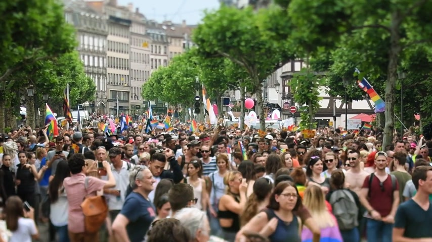 minority group : STRASBOURG, FRANCE - JUN 10, 2017: Cinematic flare over tilt-shift lens used at LGBT gay pride parade with thousands of people dancing on the street