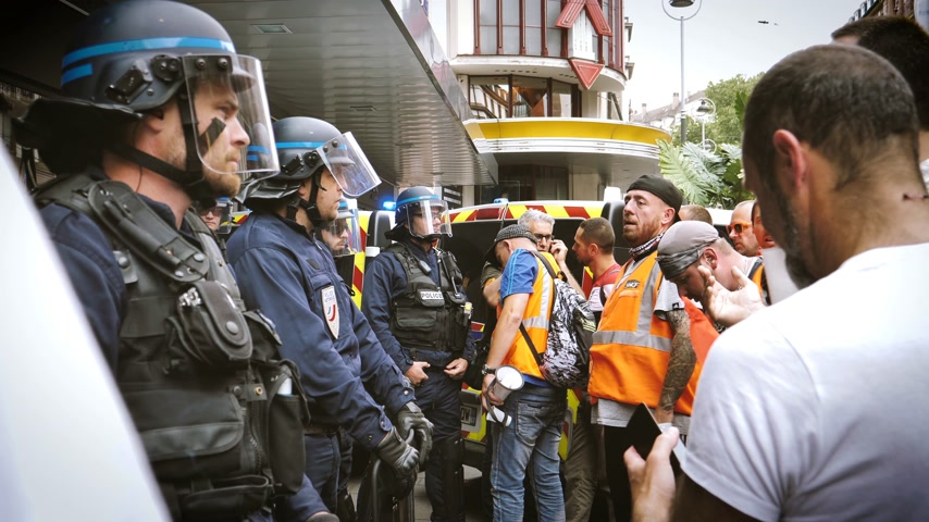 syndicate : STRASBOURG, FRANCE - JUN 20, 2018: Protest with SNCF French train worker demonstration strike against Macron French government string of reforms in front of police force orders