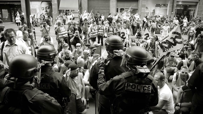 syndicate : STRASBOURG, FRANCE - JUN 20, 2018: Black and white footage of SNCF French train workers demonstration strike protest against Macron French government string of reforms