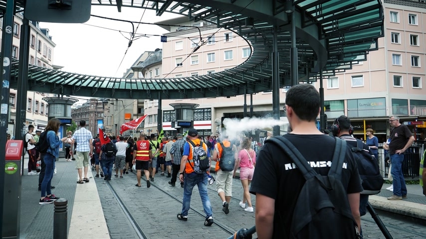 syndicate : STRASBOURG, FRANCE - JUN 20, 2018: Closed tramway public transportation Homme de Fer SNCF French train worker demonstration strike protest against Macron French government string of reforms