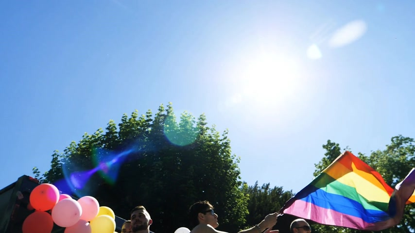 minority group : STRASBOURG, FRANCE - JUN 10, 2017: Group excited friends people visibility march pride FestiGays - Stock Footage