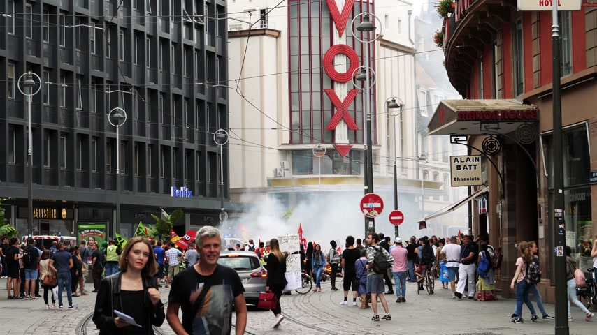 nationwide : STRASBOURG, FRANCE - JUN 20, 2018: Closed Rue des Francs-Bourgeois street in central Strasbourg due to SNCF train workers protest