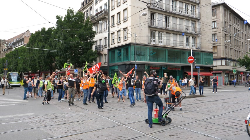 syndicate : STRASBOURG, FRANCE - JUN 20, 2018: Noise bomb by SNCF French train worker demonstration strike protest against Macron French government string of reforms