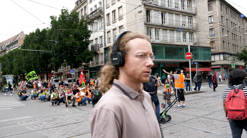 nationwide protest : STRASBOURG, FRANCE - JUN 20, 2018: Closed street by SNCF French train worker demonstration strike protest against Macron French government string of reforms Stock Footage