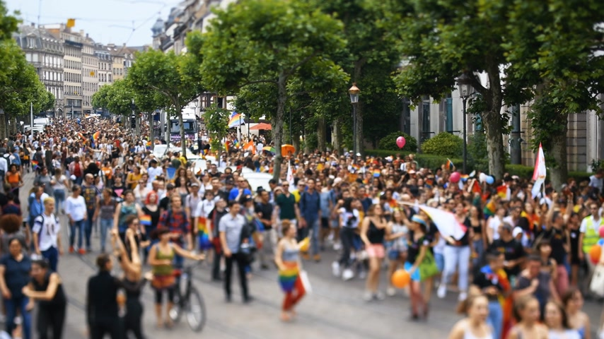minority group : STRASBOURG, FRANCE - JUN 10, 2017: Tilt-shift lens used to capture the crowd at gay pride
