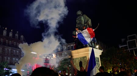 qualification round : STRASBOURG, FRANCE - JULY 10, 2018: Crowd in central Place Kleber after the victory of France qualify for the final of the 2018 FIFA World Cup after their victory over Belgium 1-0