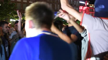 végső : STRASBOURG, FRANCE - JULY 10, 2018: Dancing jumping in Central Place Kleber after the victory of France qualify for the final of the 2018 FIFA World Cup after their victory over Belgium 1-0