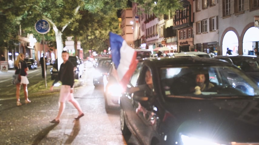 qualification round : STRASBOURG, FRANCE - JULY 10, 2018: Traffic jam French Streets after the victory of France qualify for the final of the 2018 FIFA World Cup after their victory over Belgium 1-0