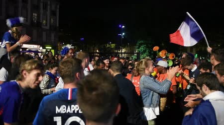 qualification round : STRASBOURG, FRANCE - JULY 10, 2018: People dancing in central square after the victory of France qualify for the final of the 2018 FIFA World Cup after their victory over Belgium 1-0