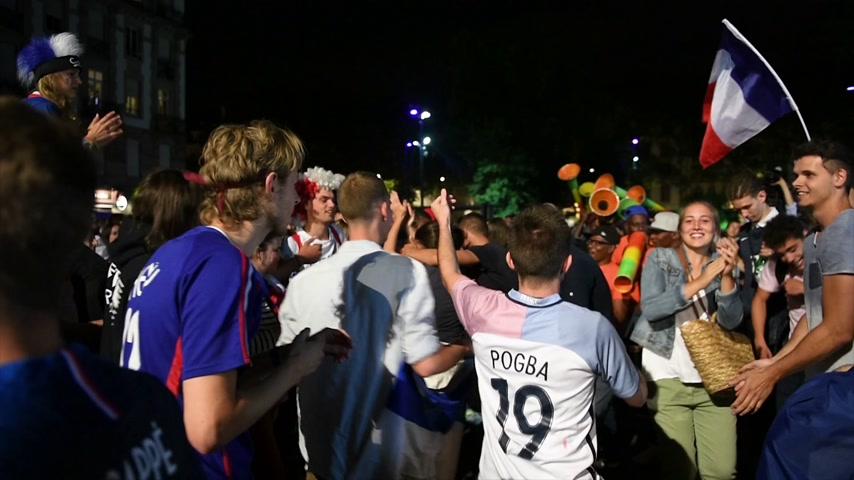 qualification round : STRASBOURG, FRANCE - JULY 10, 2018: Happy ambiance on Central Place Austerlitz after the victory of France qualify for the final of the 2018 FIFA World Cup after their victory over Belgium 1-0