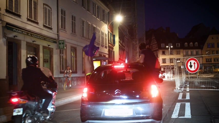 qualification round : STRASBOURG, FRANCE - JULY 10, 2018: Cars with boys on French streets after the victory of France qualify for the final of the 2018 FIFA World Cup after their victory over Belgium 1-0
