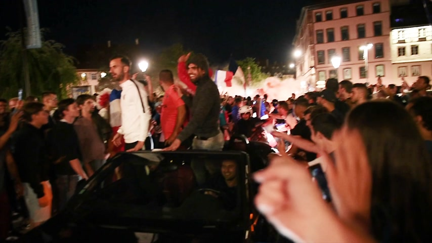 qualification round : STRASBOURG, FRANCE - JULY 10, 2018: Middle eastern fans on cars after the victory of France qualify for the final of the 2018 FIFA World Cup after their victory over Belgium 1-0