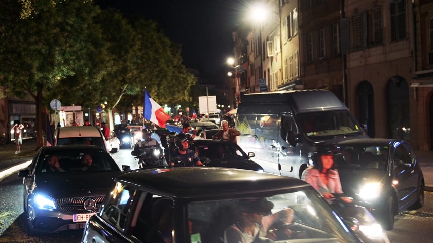 qualification round : STRASBOURG, FRANCE - JULY 10, 2018: Car horns and noise on French streets after the victory of France qualify for the final of the 2018 FIFA World Cup after their victory over Belgium 1-0