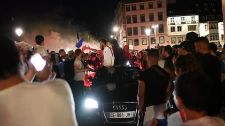 qualification round : STRASBOURG, FRANCE - JULY 10, 2018: Soccer fans disputes after the victory of France qualify for the final of the 2018 FIFA World Cup after their victory over Belgium 1-0