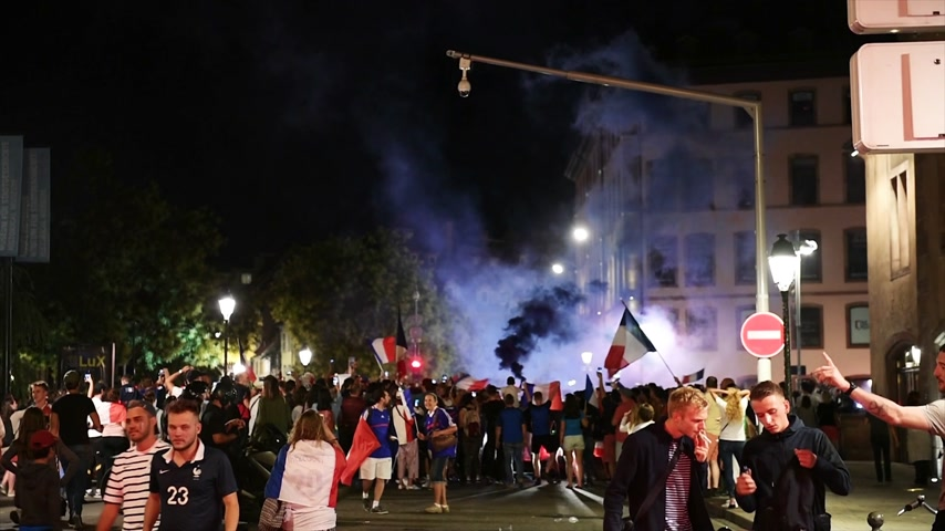 qualification round : STRASBOURG, FRANCE - JULY 10, 2018: Happy ambiance on Central Place Kleber after the victory of France qualify for the final of the 2018 FIFA World Cup after their victory over Belgium 1-0