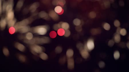placeholder : Defocused red fireworks during the night - cinematic 4k UHD end title scene Stock Footage