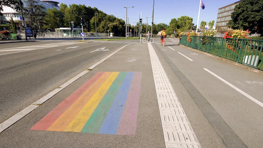 european court of human rights : STRASBOURG, FRANCE - CIRCA 2018: Gay pride LGBT flag in front of the European Court of Human Rights building with buses, cars and pedestrians in the evening