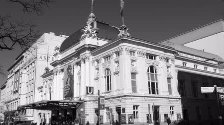 hanseatic : HAMBURG, GERMANY - CIRCA 2018: Black and white of Deutsches Schauspielhaus in the St. Georg quarter established in 1901 by the renowned stage actress Franziska Ellmenreich.