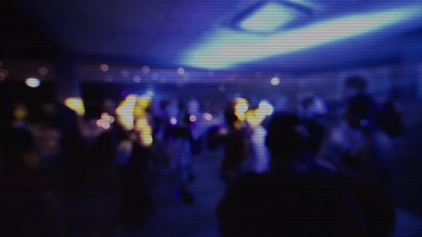 first person : Old CRT color tv effect over great wedding party with silhouettes of people dancing on the dancefloor disco and traditional dance