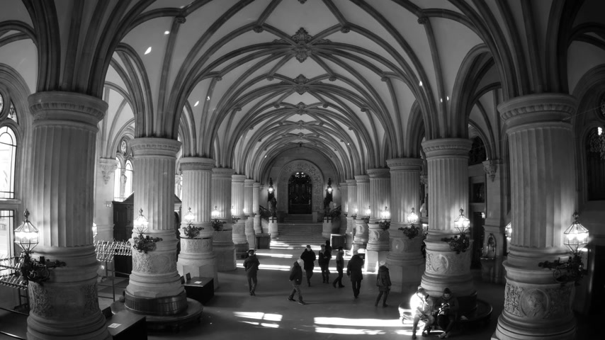 rathaus : HAMBURG, GERMANY - CIRCA 2018: Hamburger Rathaus translated as Hamburg City Hall - wide interior with people tourists visiting the majestic interior with multiple decorations and pillars columns - black and white