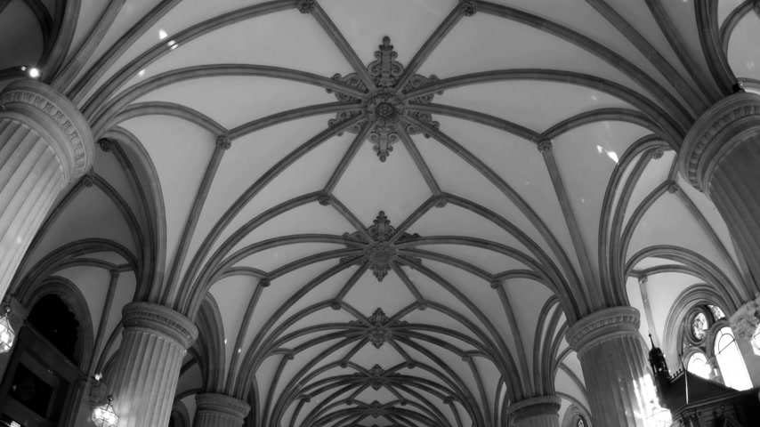 rathaus : HAMBURG, GERMANY - CIRCA 2018: Tilt-down motion to Hamburger Rathaus translated as Hamburg City Hall - wide interior with people tourists visiting the majestic interior with multiple decorations and pillars columns - black and white