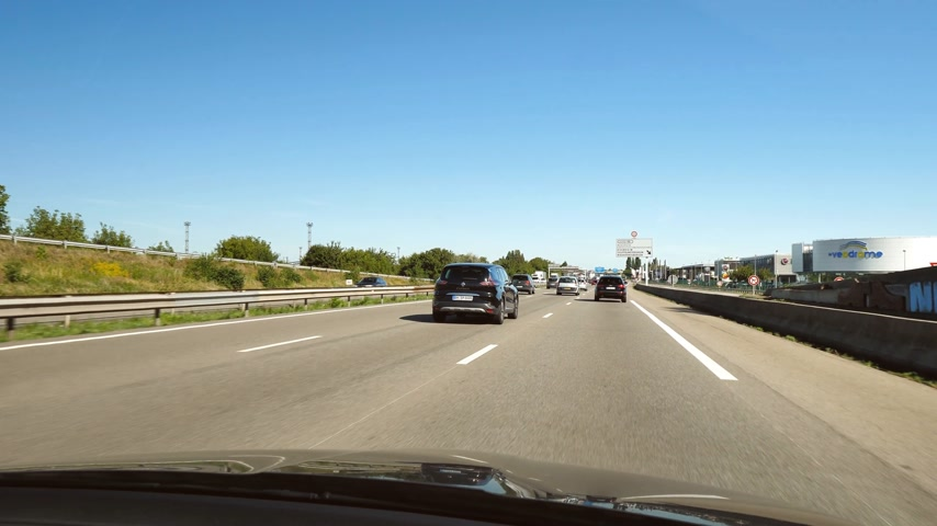 limit : STRASBOURG HOENHEIM, FRANCE - CIRCA 2018: Driver POV at cars driving on Autoroute de lEst leaving Strasbourg toward Paris 4k uhd footage of French autoroute Stock Footage