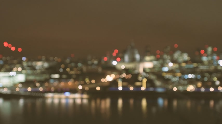 夜 : Defocused beautiful bokeh over cinematic British London at night still drone aerial view of Anglican St Pauls Cathedral London and Millennium Bridge and magical Thames river reflection