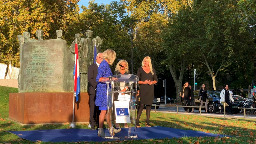 political speech : STRASBOURG, FRANCE - OCT 18, 2018: Ina Hut, Director of COMESA Netherlands foundation at inauguration of the exhibition Open Your Eyes to Human Trafficking