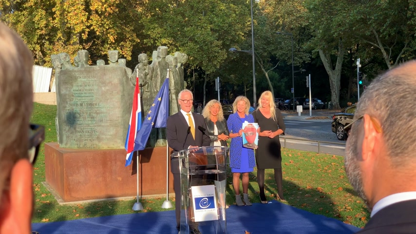 politikacı : STRASBOURG, FRANCE - OCT 18, 2018: Roeland Adriaan Alfons BOCKER, Permanent Representation of the Netherlands speech in front of Council of Europe inauguration of the exhibition Open Your Eyes to Human Trafficking Stok Video