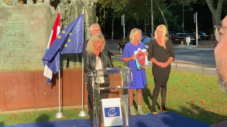 council of europe : STRASBOURG, FRANCE - OCT 18, 2018: Claudia LUCIANI, Director of Democratic Governance and Anti-Discrimination, Council of Europe  inauguration of the exhibition Open Your Eyes to Human Trafficking