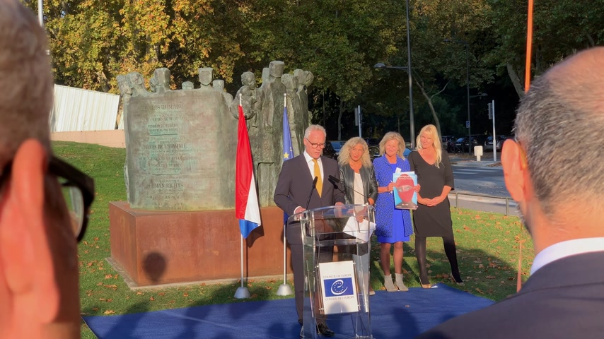 political speech : STRASBOURG, FRANCE - OCT 18, 2018: Roeland Adriaan Alfons BOCKER, Permanent Representation of the Netherlands speech in front of Council of Europe inauguration of the exhibition Open Your Eyes to Human Trafficking Stock Footage