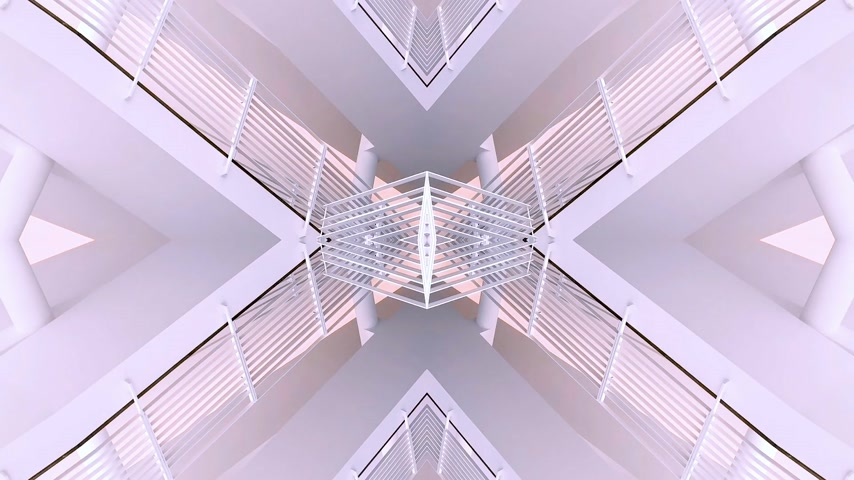 irreal : Abstract stairs with the inception mirrored mind bending sci-fi video manipulation showing stairs - door to outer parallel world pastel colors