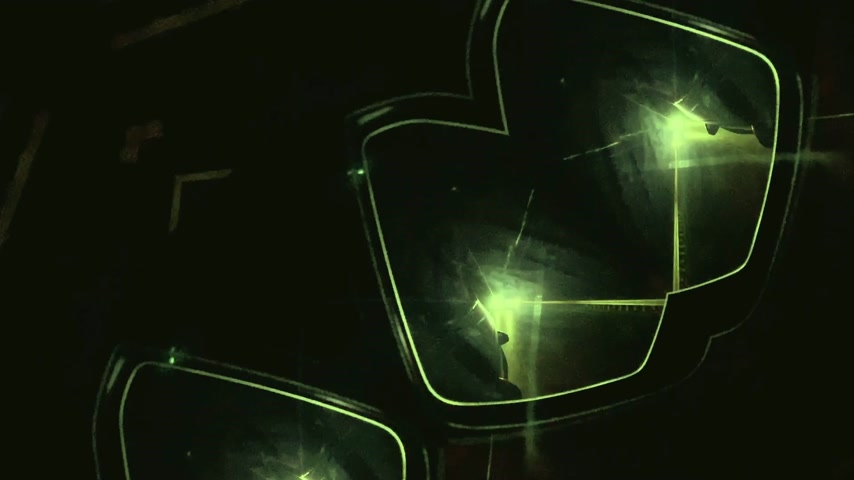 irreal : Abstract inception effect - view of the driver at German autobahn with mirrored mind bending sci-fi video manipulation during night drive green color cast mirror view Stock Footage