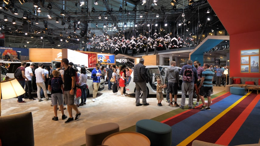 citroen : PARIS, FRANCE - OCT 4, 2018: Customers curious people admiring new luxury cars at Citroen car maker stand at International car exhibition Mondial Paris Motor Show,