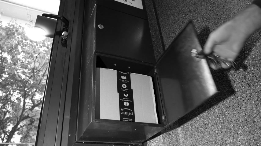 skrzynka pocztowa : PARIS, FRANCE - CIRCA 2018: Man closes mailbox in French luxury apartment building with large cardboard box from Amazon inside. Online shopping getting ready for holiday season - black and white