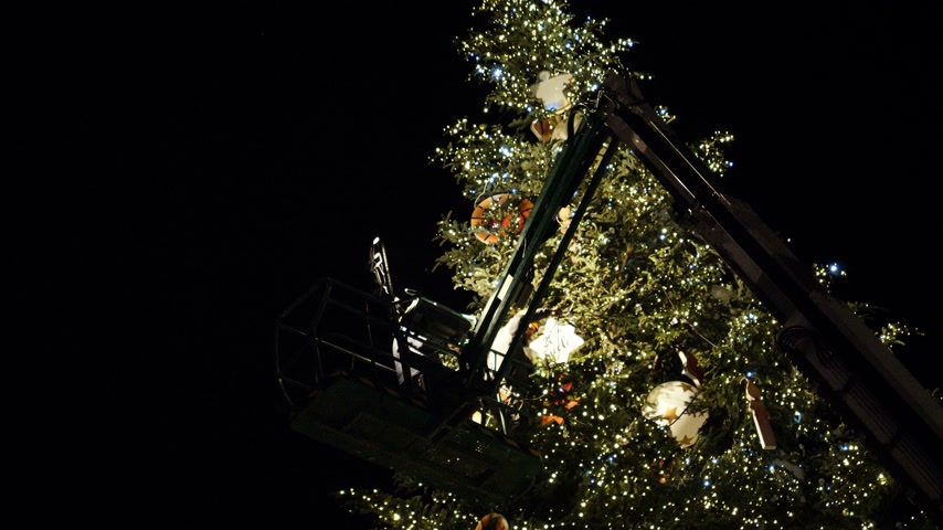 baixo ângulo : STRASBOURG, FRANCE - CIRCA 2018: Workers on top of telescopic crane in central Place Kleber decorating the Christmas Tree with toys before the winter holiday annual market - working at night Stock Footage