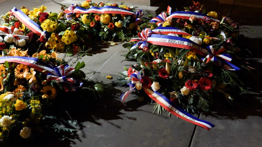 offer : Soldiers Remembrance Day flower crowns Armistice centenary event in Strasbourg Frankrijk - pan at night Stockvideo