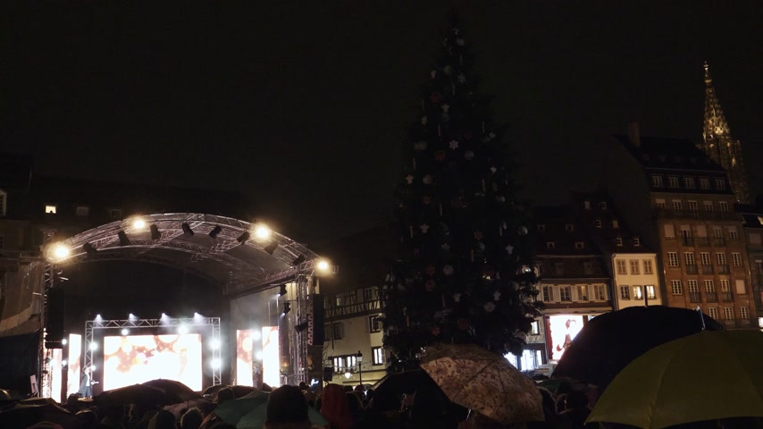 освещенный : STRASBOURG, FRANCE - NOV 23, 2017: Countdown to lit-up of Strasbourg Christmas Tree Market in France, the oldest in Europe inauguration ceremony in Place Kleber at night