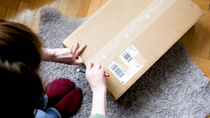 caixa de correio : PARIS, FRANCE - CIRCA 2018: Curious woman open cardboard parcel box delivered by La Poste Colissimo;with winter duvet using sharp cutter on living room floor - curious cat helping enters the box time-lapse fast motion