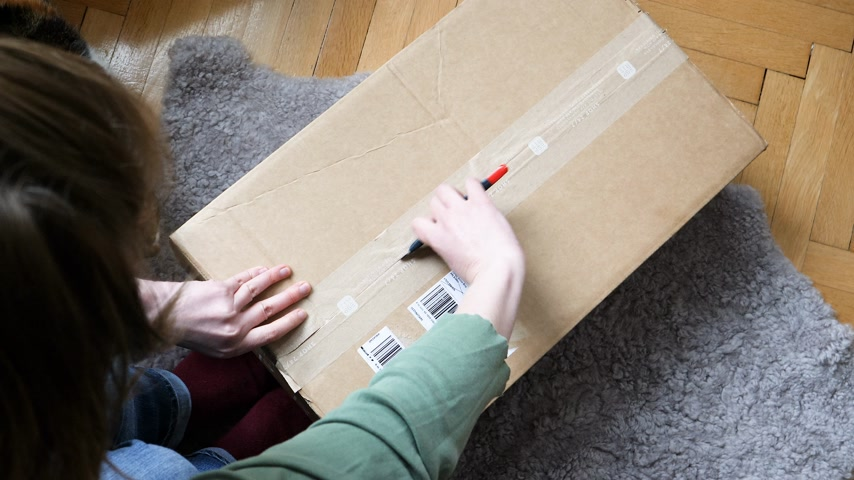 post room : PARIS, FRANCE - CIRCA 2018: Curious woman open cardboard parcel box delivered by La Poste Colissimo;with winter duvet using sharp cutter on living room floor - curious cat helping enters the box