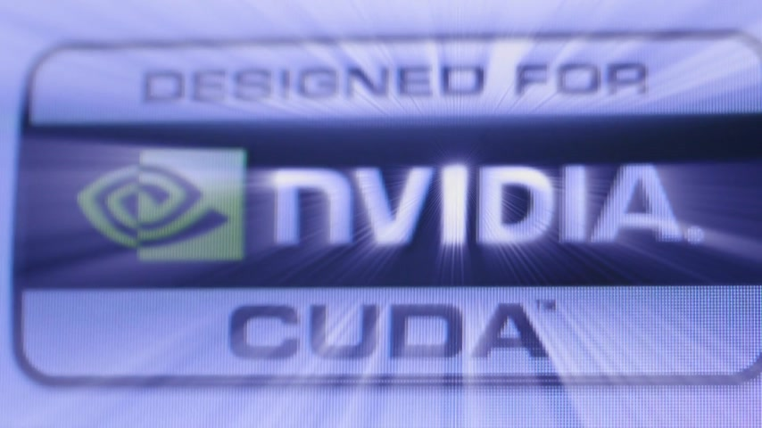 tilt shift : CALIFORNIA, UNITED STATES - CIRCA 2014: Focus with tilt-shift lens to Designed for Nvidia Cuda GPU processor as seen on Apple Computers iMac computer iridescent shining projecting light