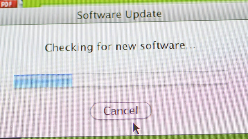 apple sign : CALIFORNIA, UNITED STATES - CIRCA 2014: Software update of Apple Computers MacOS 10.6.8 on a iMac computer - progression bar and mouse pointer