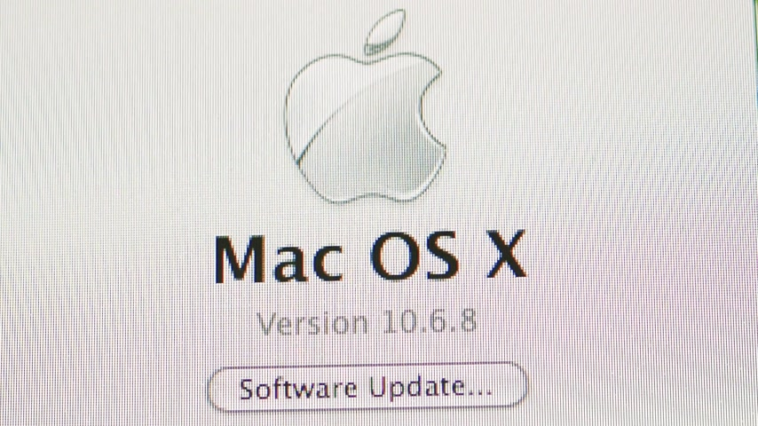 CALIFORNIA, VERENIGDE STATEN - CIRCA 2014: Software-update van Apple Computers MacOS 10.6.8 op een iMac-computer - muisaanwijzer op knop drukken Software-update Stockvideo