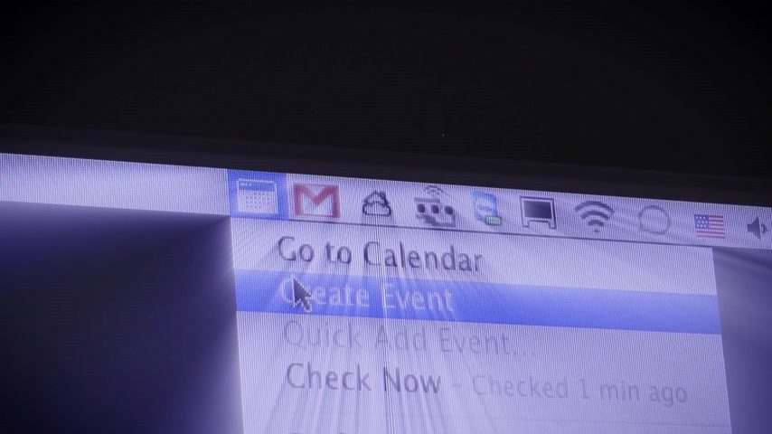 поставщик : CALIFORNIA, UNITED STATES - CIRCA 2014: Apple Computers new desktop computer iMac with Create event  in Google Calendar Gmail radiating iridescent colors
