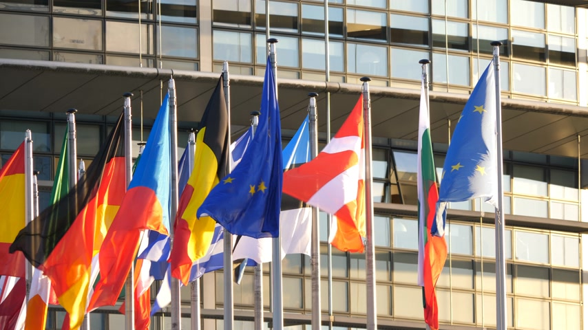 helyettes : STRASBOURG, FRANCE - CIRCA 2018: Close-up of flags waving calmly in front of European Parliament headquarter facade building with flags of all member states waving
